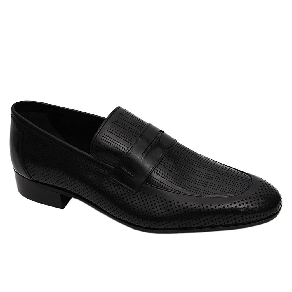 Black Flavio Italian Leather Breathable Loafers