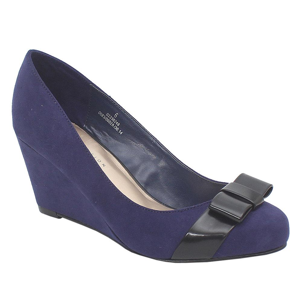 M&S Collection Purple Suede Leather Ladies Wedge Shoe Wt Bow Sz 39.5