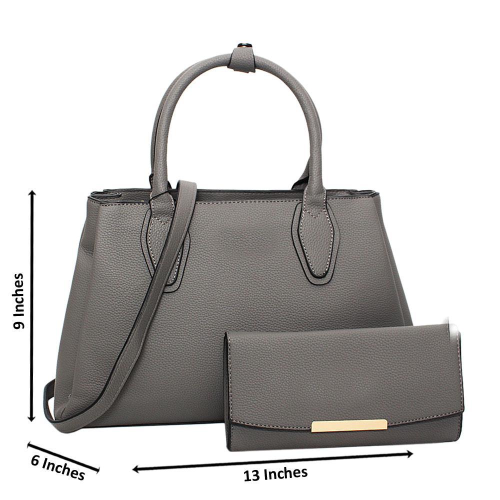 Gray Tessa Leather Medium Tote Handbag