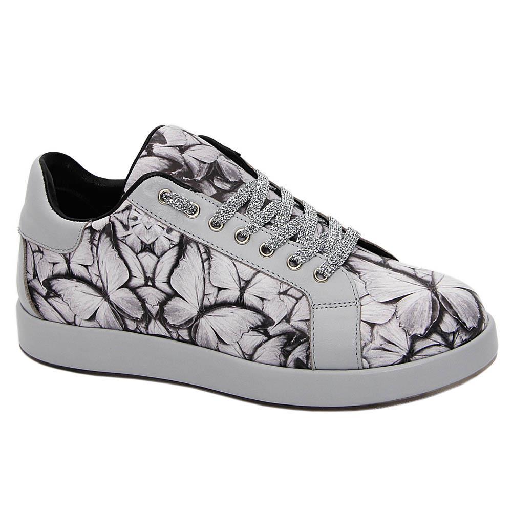 Gray Cedar Graphic Print Italian Leather Unisex Sneakers