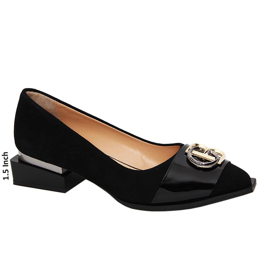 Black Hazel Suede Tuscany Leather Low Heel Pumps