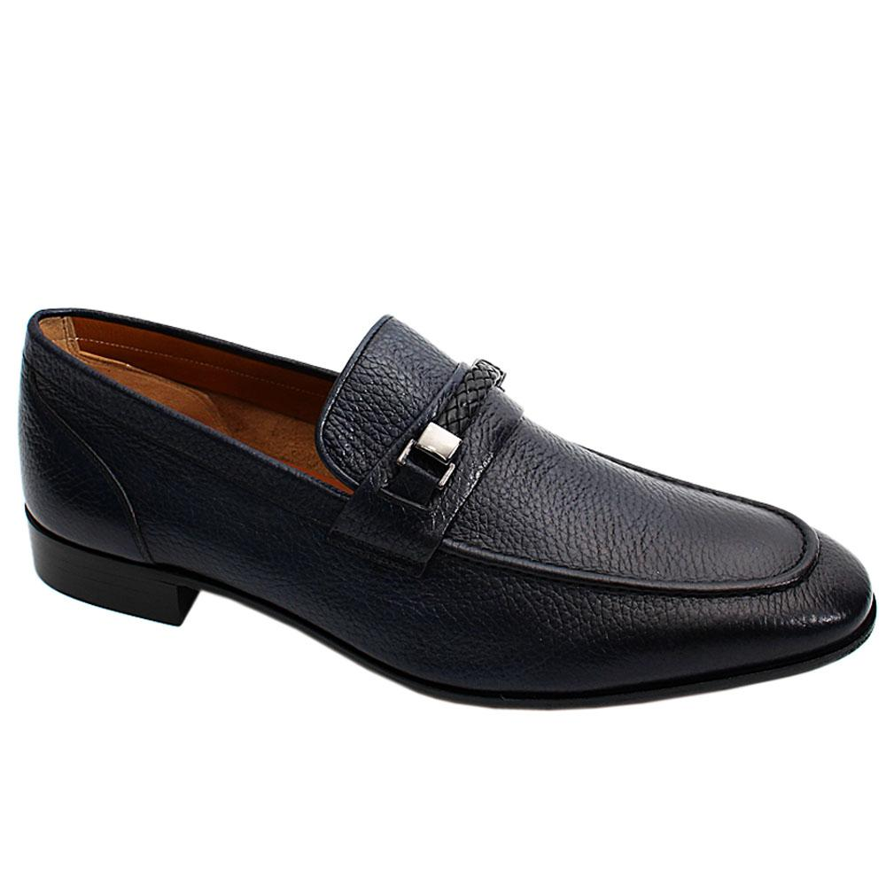 Dark Blue Floter Italian Leather Men Penny Loafers
