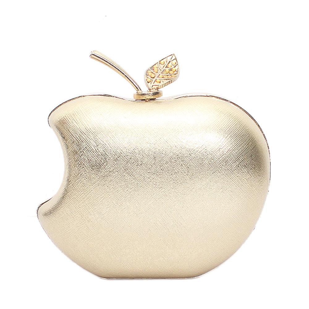 Pale Gold Apple Style Hard Clutch Purse