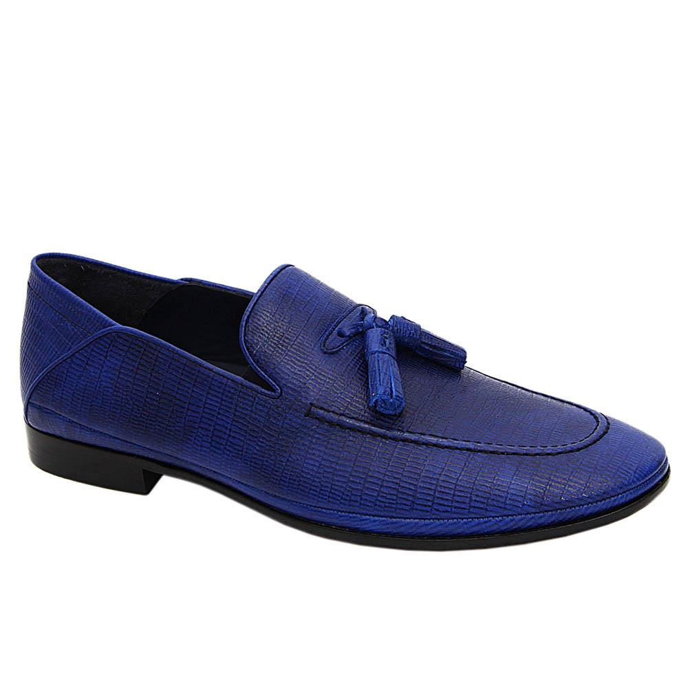 Blue Leonce Italian Leather Loafers
