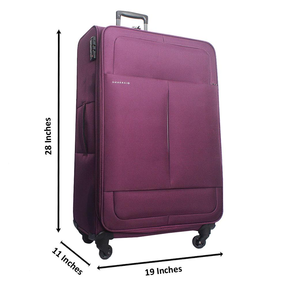 Purple 28 IncheGiordano Fabric Large Luggage Wt TSA Lock