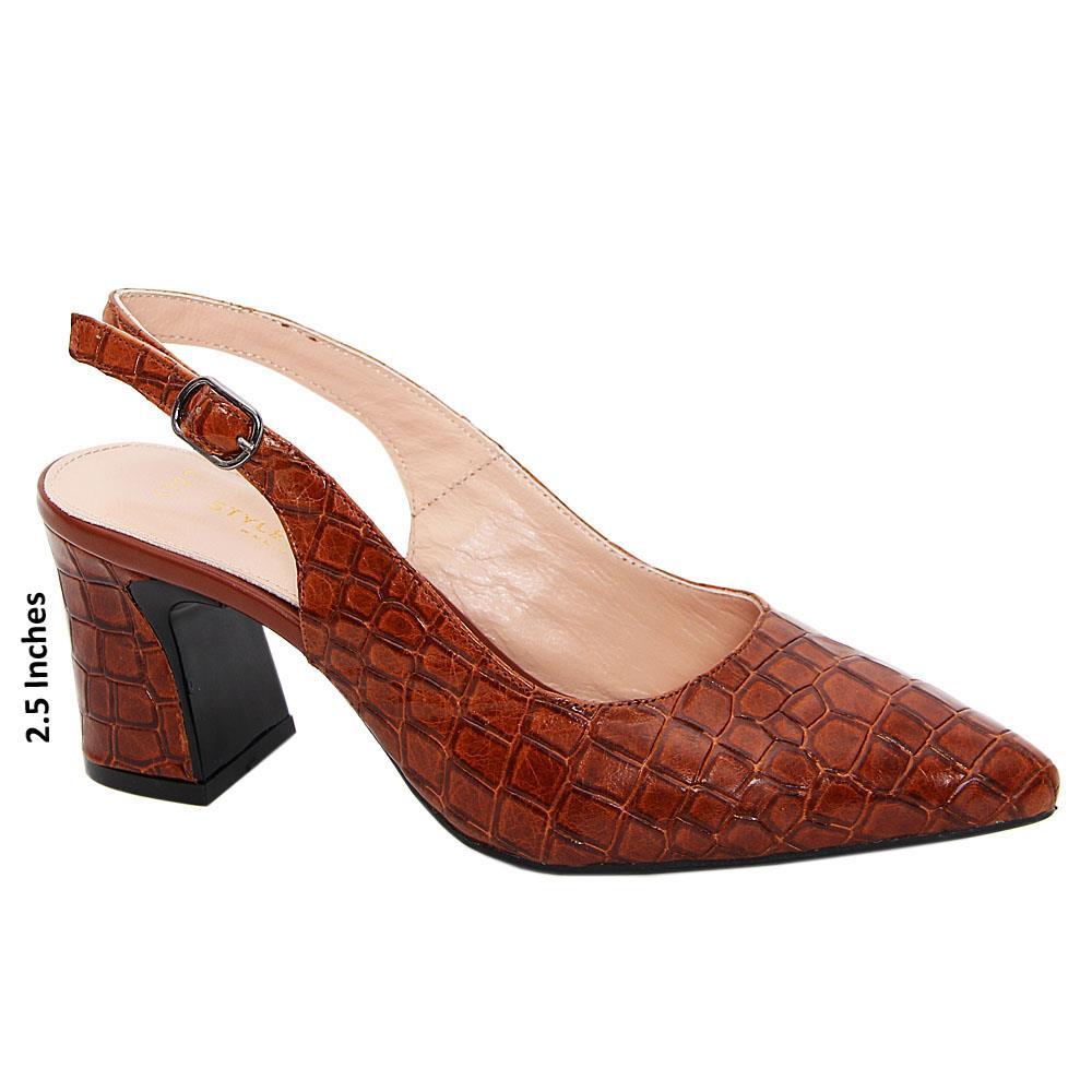 Brown Rosina Tuscany Leather Mid Heel Slingback Pumps