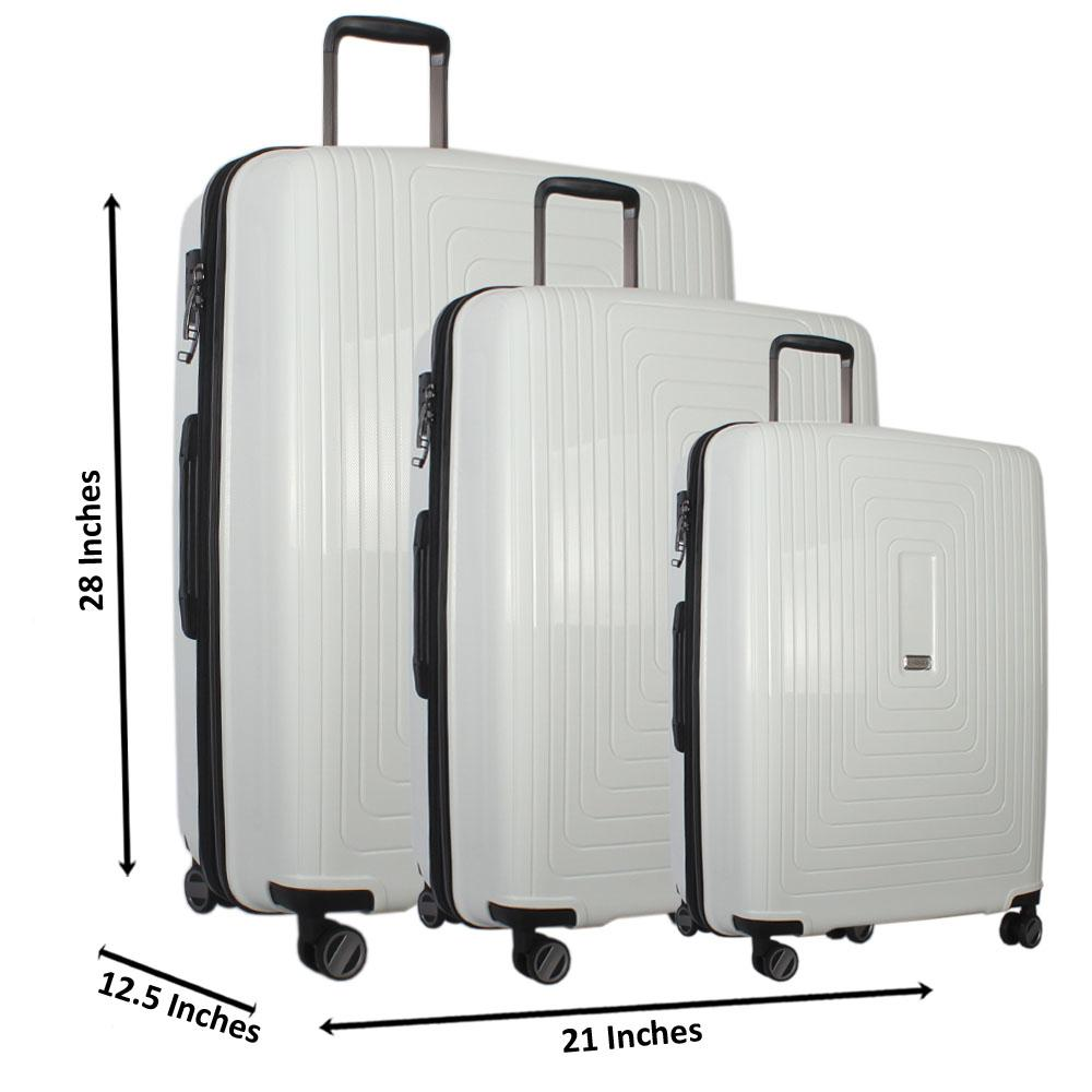White 28 Inch wt 24 Inch and 20 Inch 3-in-1 ABS Shell Luggage Set Wt TSA Lo