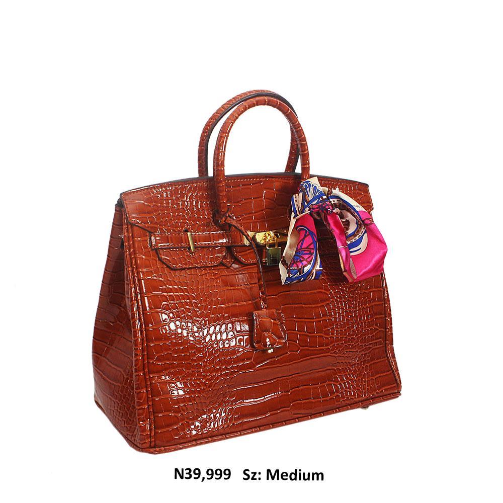 Brown Croc Style Leather Birkin Tote Handbag