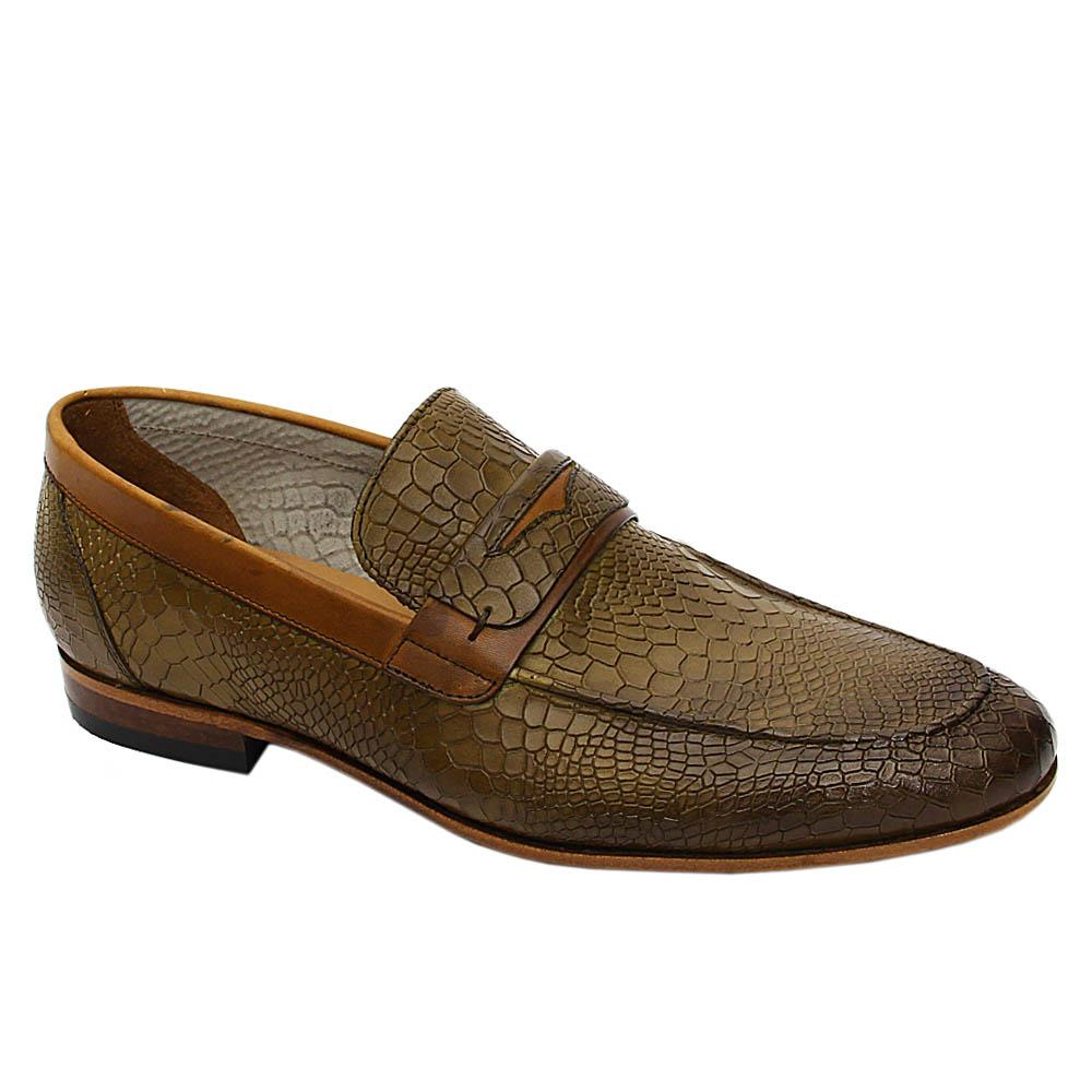 Desert Camo Green Bernardo Italian Leather Loafers