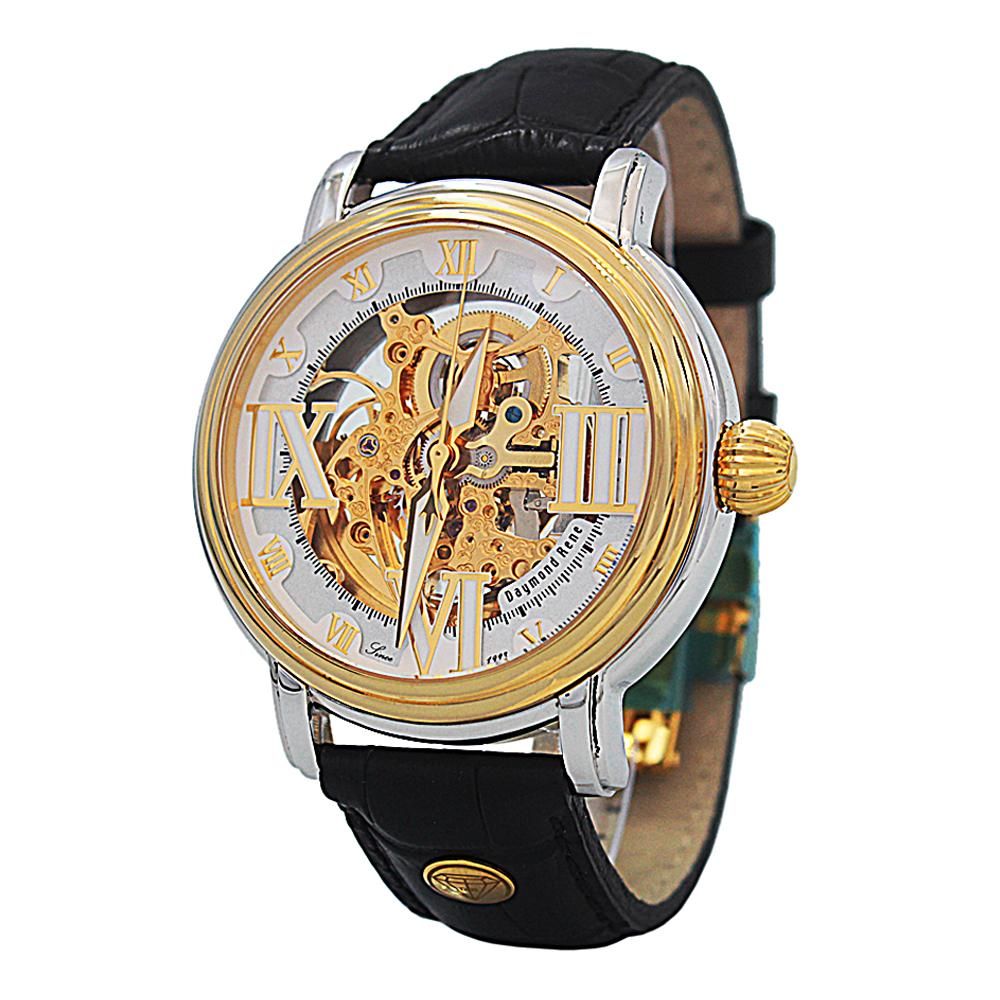 DR 10ATM Black Silver Gold Leather Automatic Watch