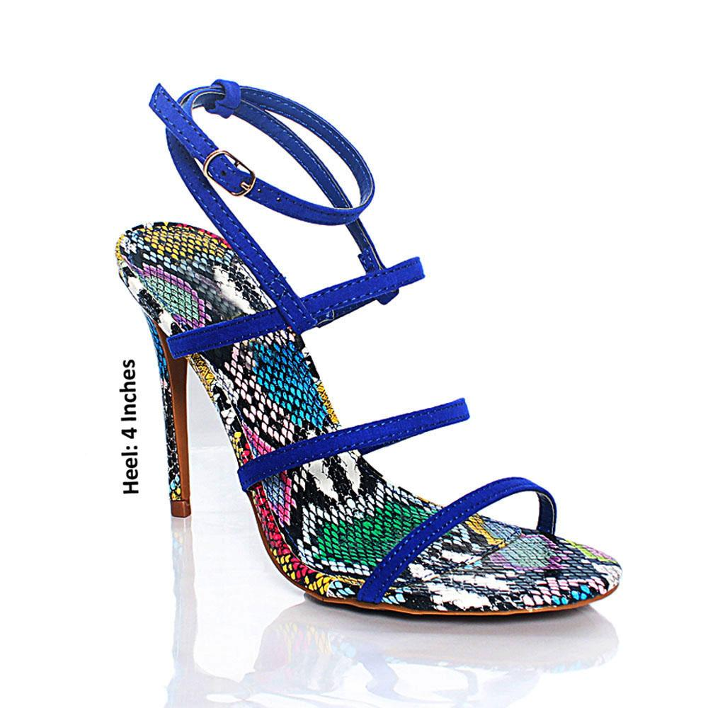 Blue Suede Snake Leather AM High Heels
