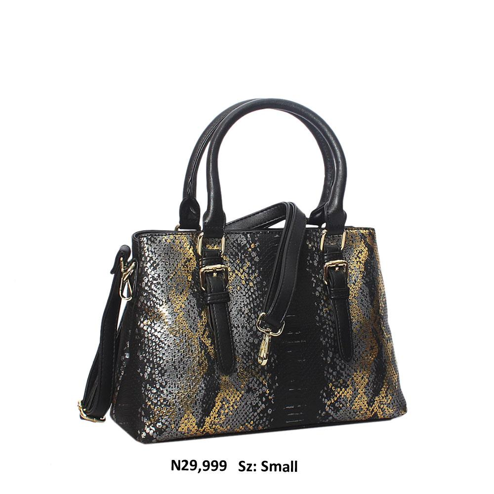 Black Gold Paola Snakeskin Style Leather Tote Handbag
