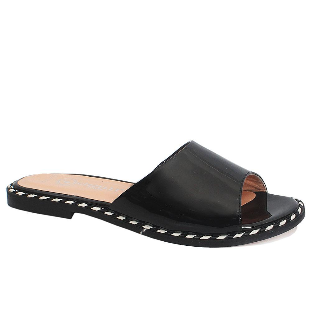 Black Beca Italian Patent Leather Flat Slippers