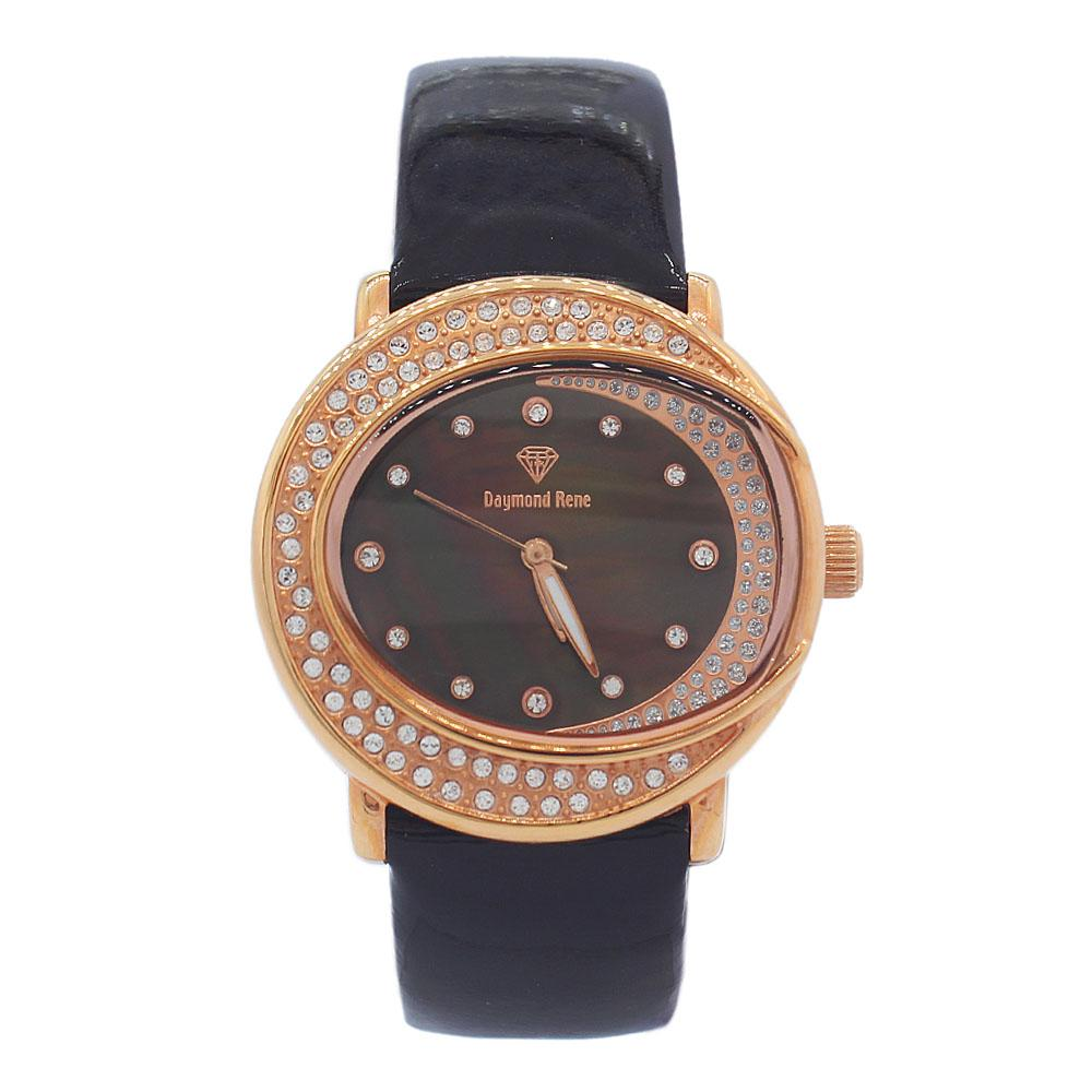 DR 3ATM Rose Gold Ice Coffee Patent Leather Ladies Watch