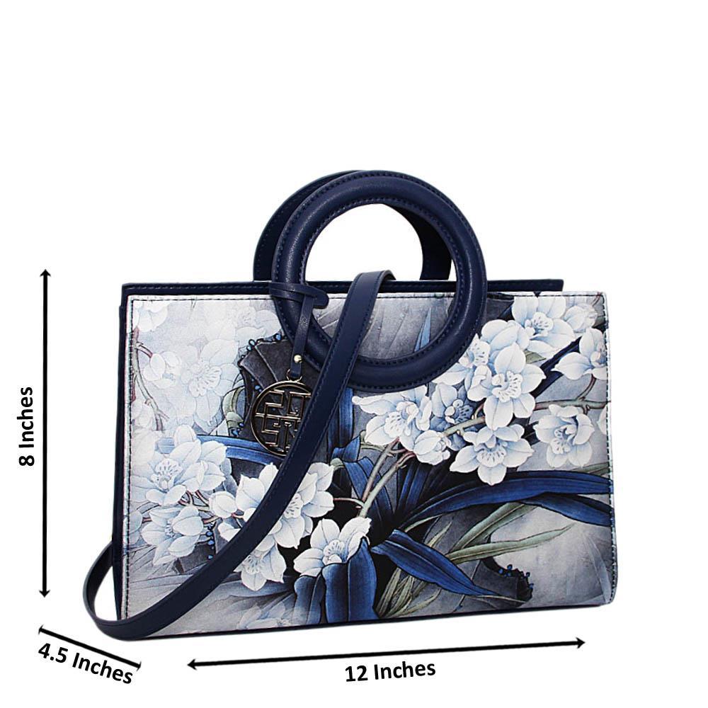 Navy Blue Paola Floral Print Medium Handbag