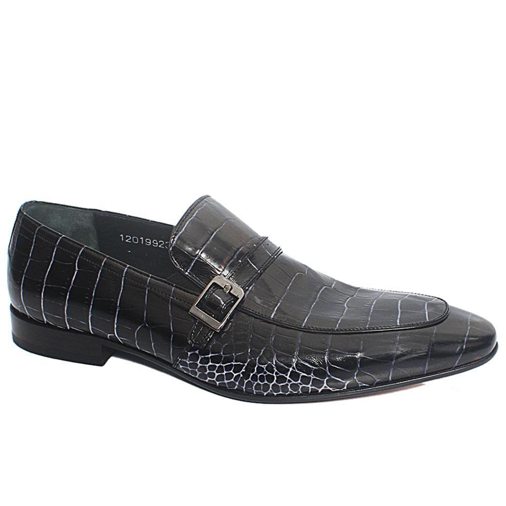 Black White Bertino Croco Italian Leather Penny Loafers