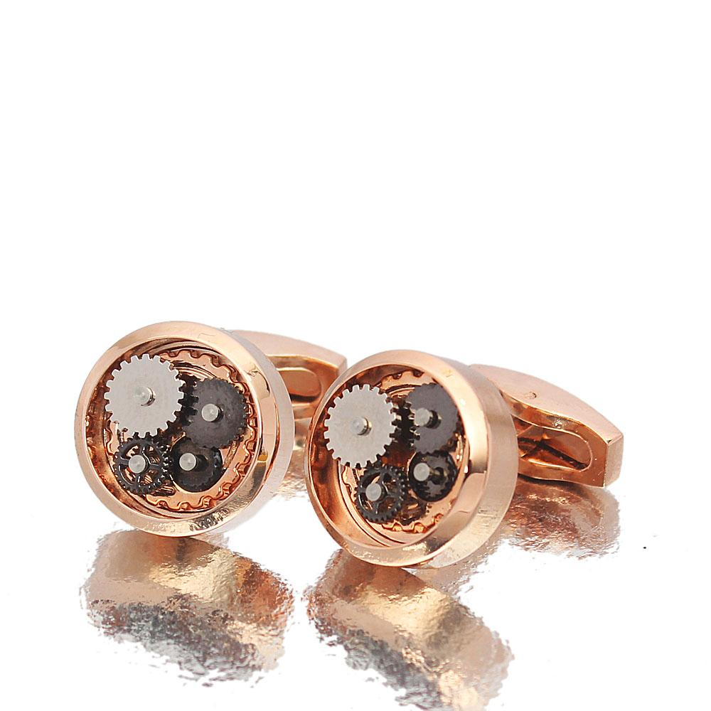 Platinum Rose gold Kinetic Styled Stainless Steel Cufflinks