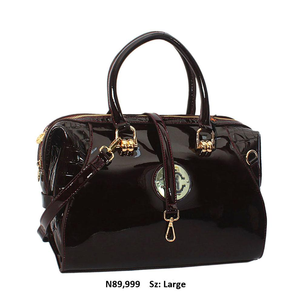 Tessa Alva Deep Wine Croc Patent Cowhide Leather Tote Handbag
