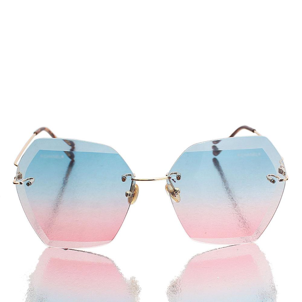 Gold Heptagon Blue Pink Lens Sunglasses