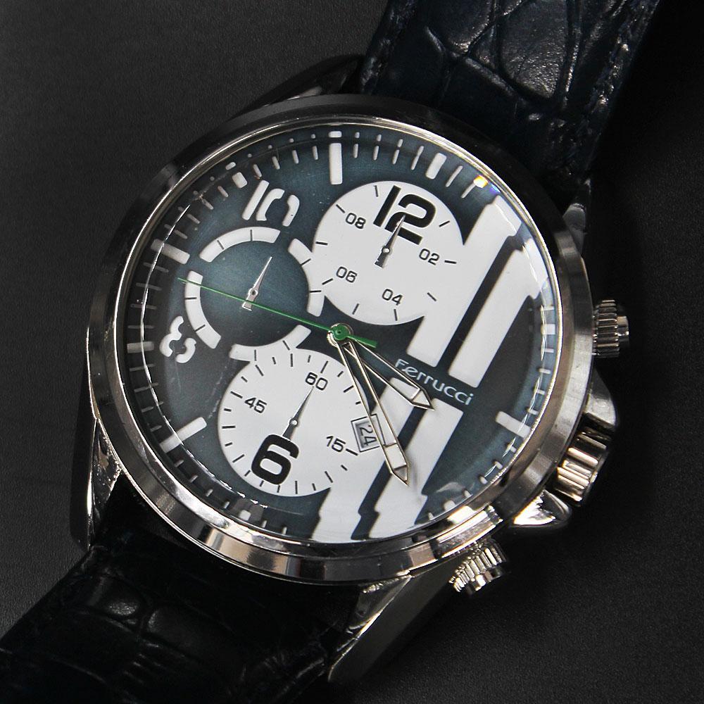 Ferrucci Enzo Blue Leather Pilot Series Watch