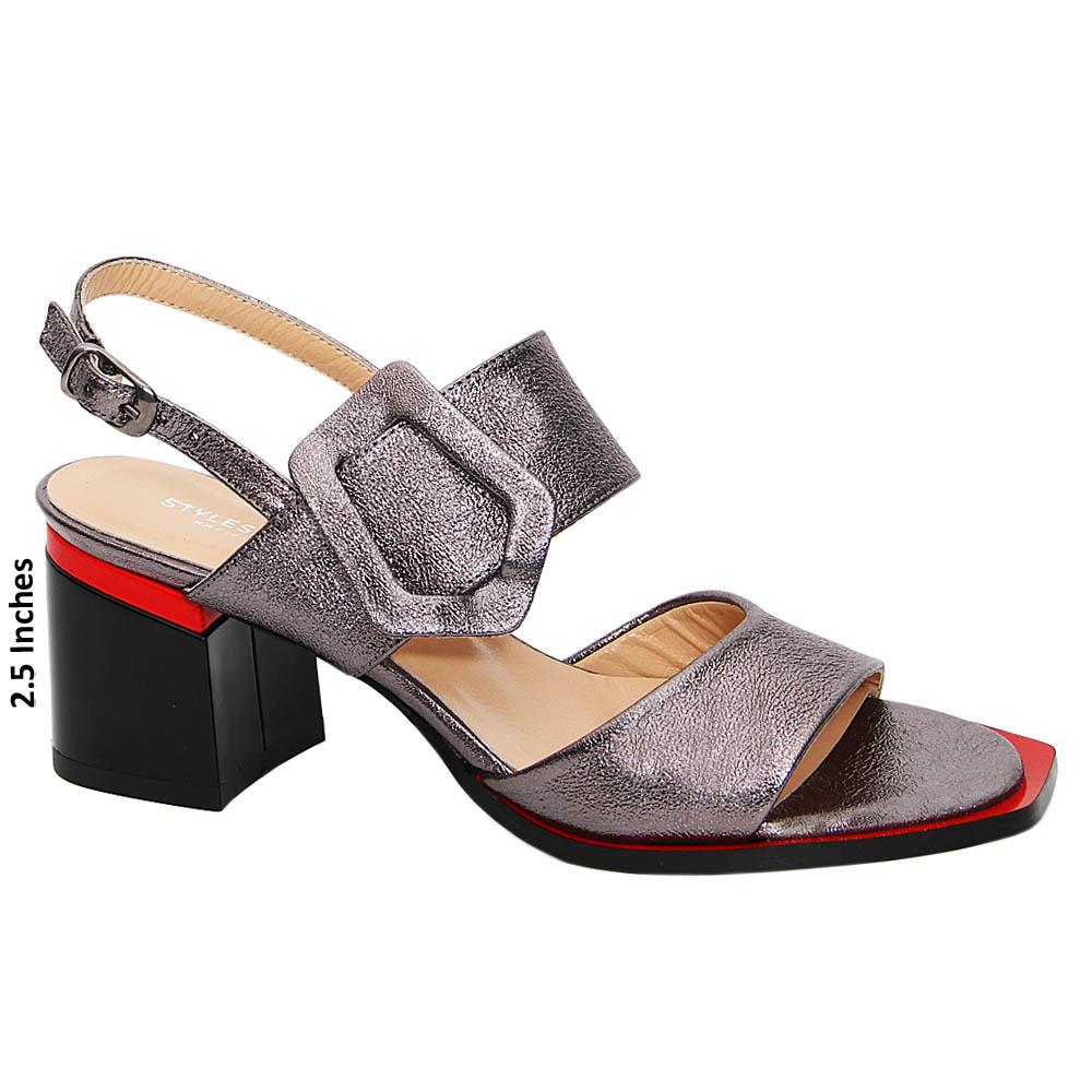 Gray Whitney Tuscany Leather Mid Heel Sandals