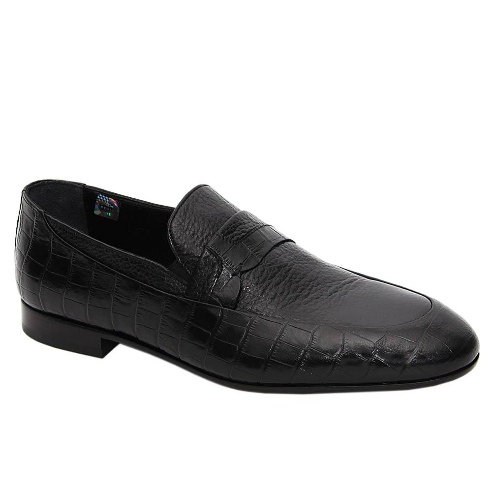 Black Michelangelo Italian Leather Loafers