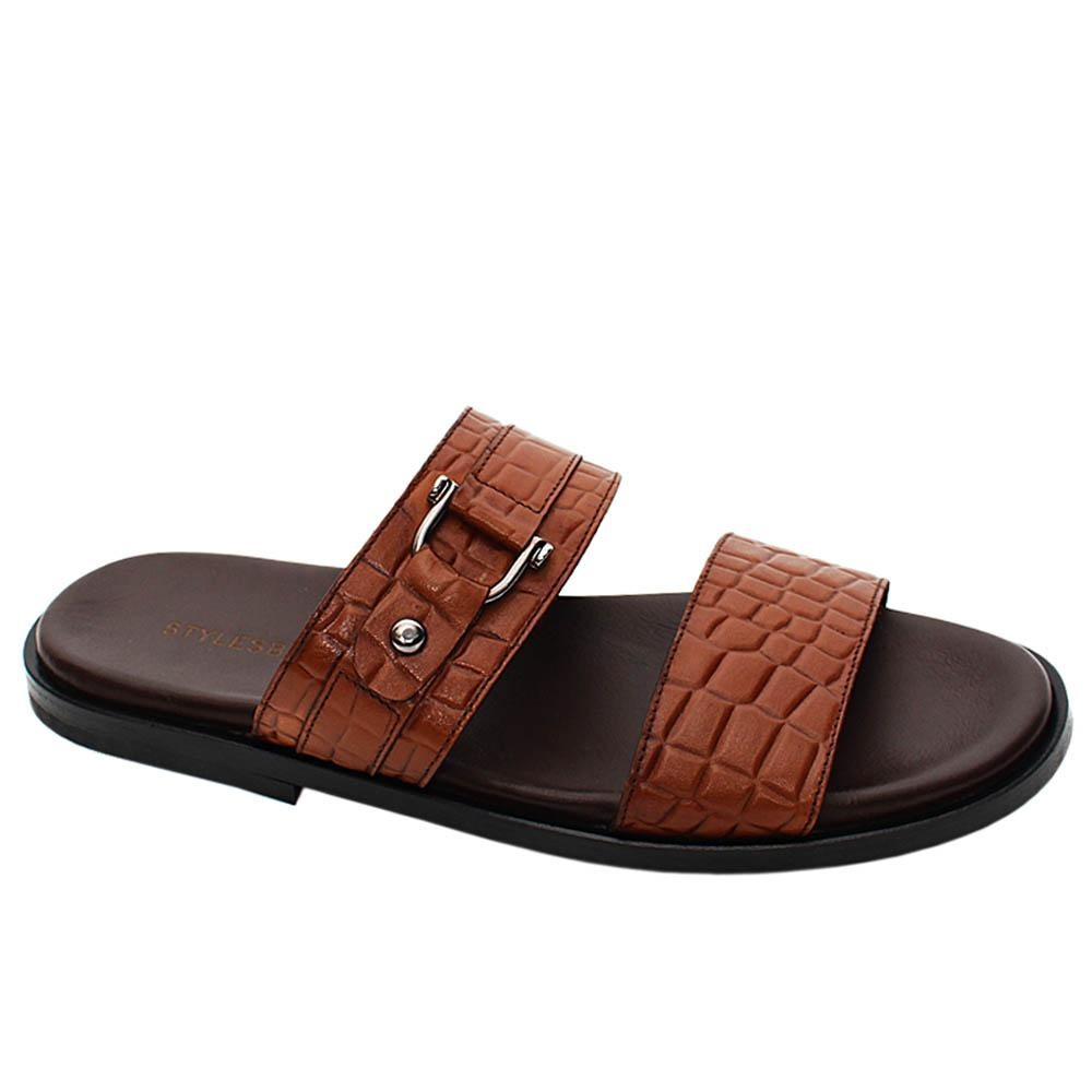 Brown Rosario Italian Leather Men Slippers