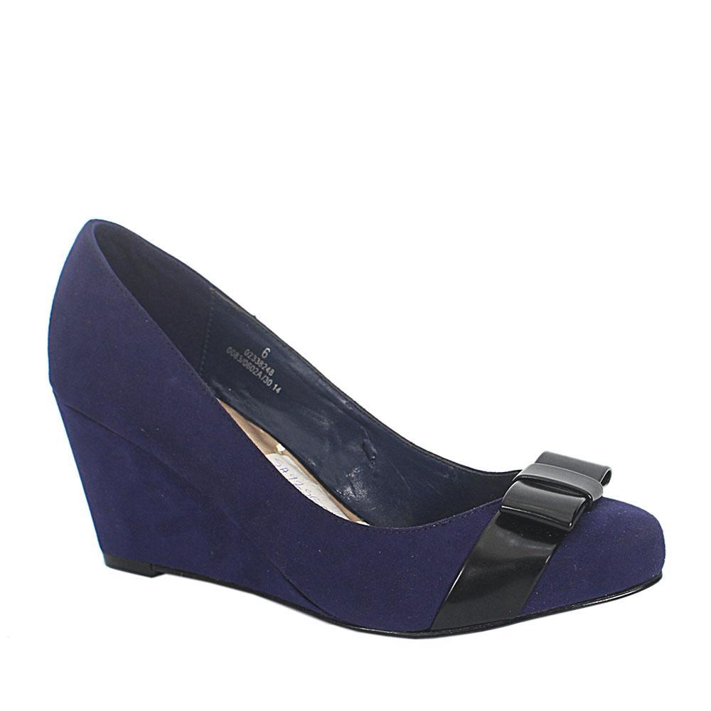 M&S Purple Suede Ladies Wedge Shoe Sz 39.5 Wt Inside peeling