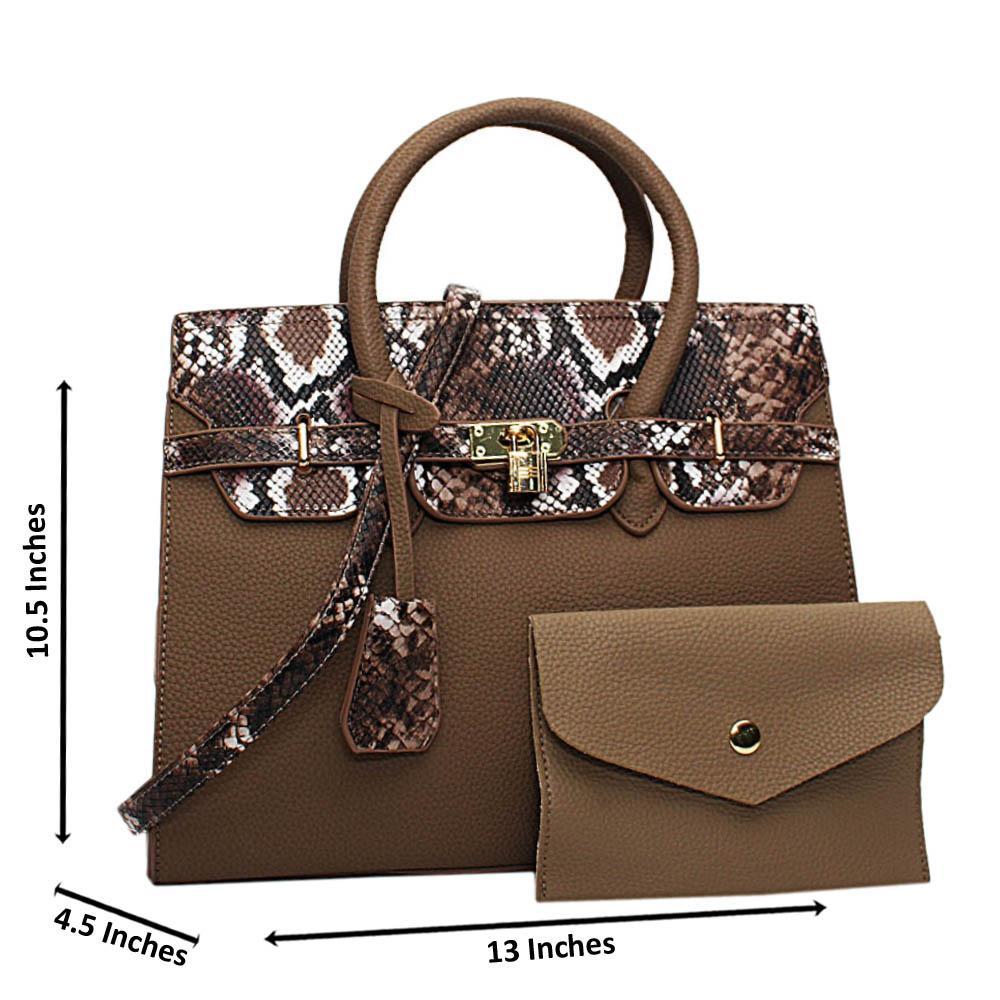 Khaki Oakley Mix Snake Leather Medium Tote Handbag