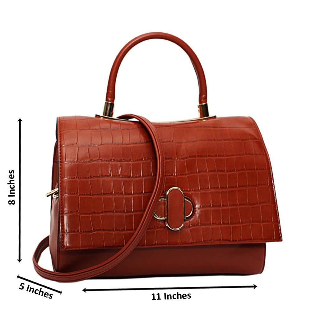 Brown Alyona Mix Croc Leather Medium Top Handle Handbag