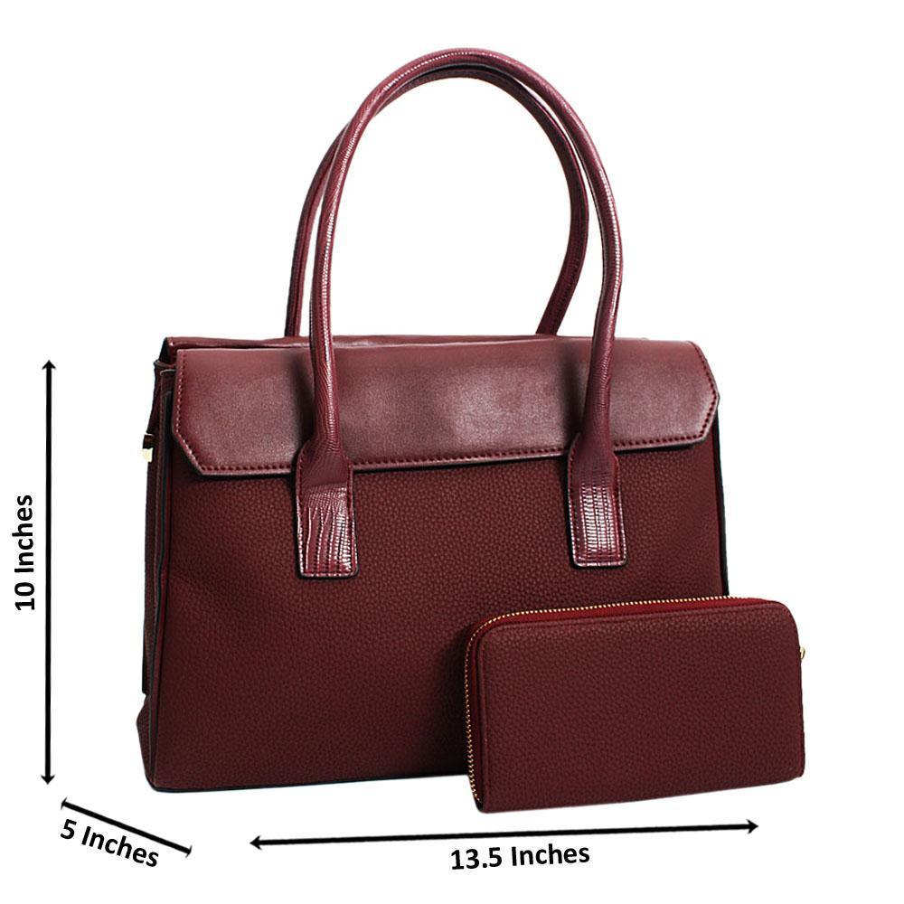 Burgundy Aurora Leather Medium Tote Handbag