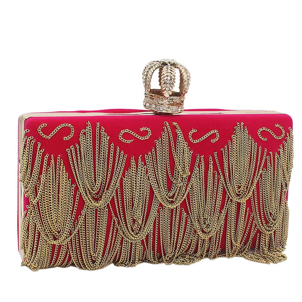 Pink Crown Suede Fabric Clutch Purse