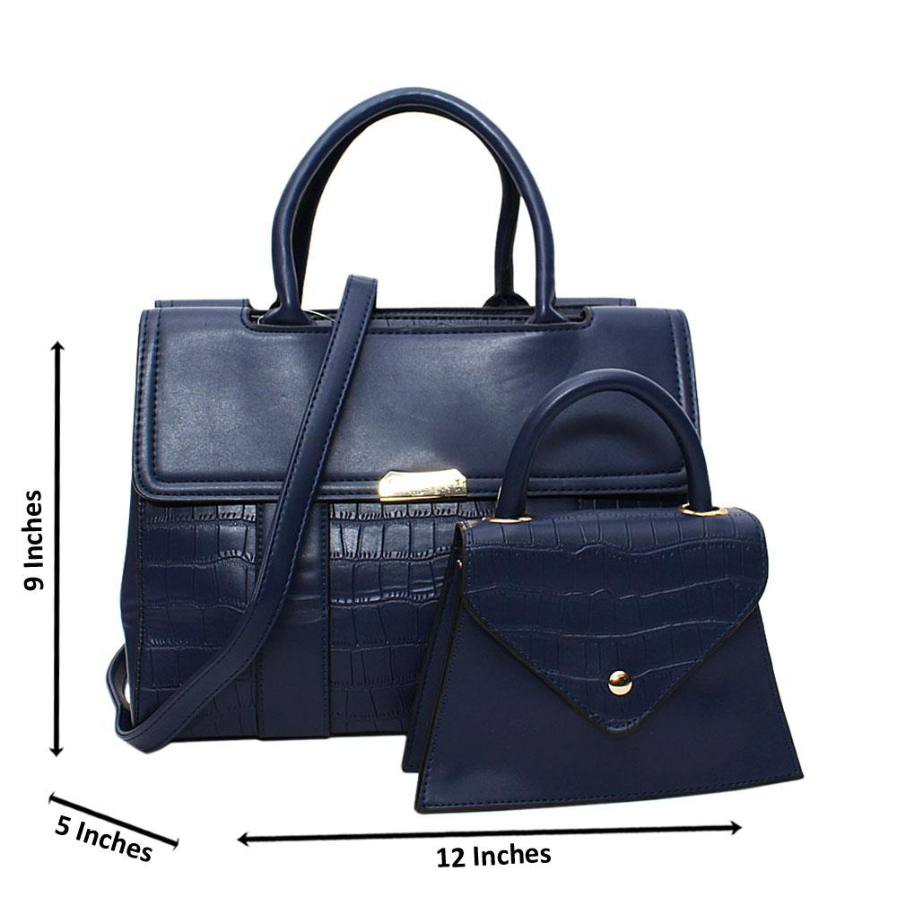 Navy Tara Croc Leather Medium 2 in 1 Tote Handbag