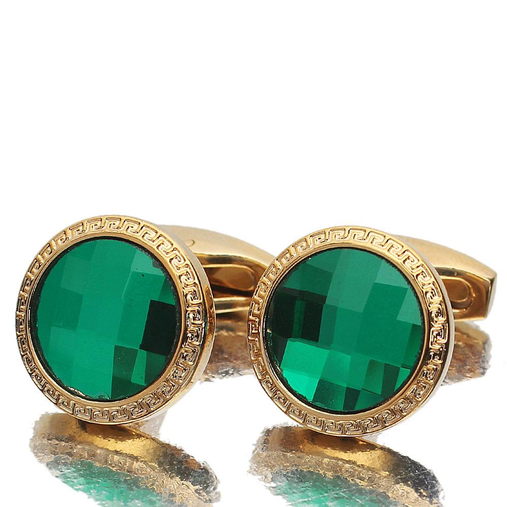 Gold Green Ceramic Stainless Steel Cufflinks