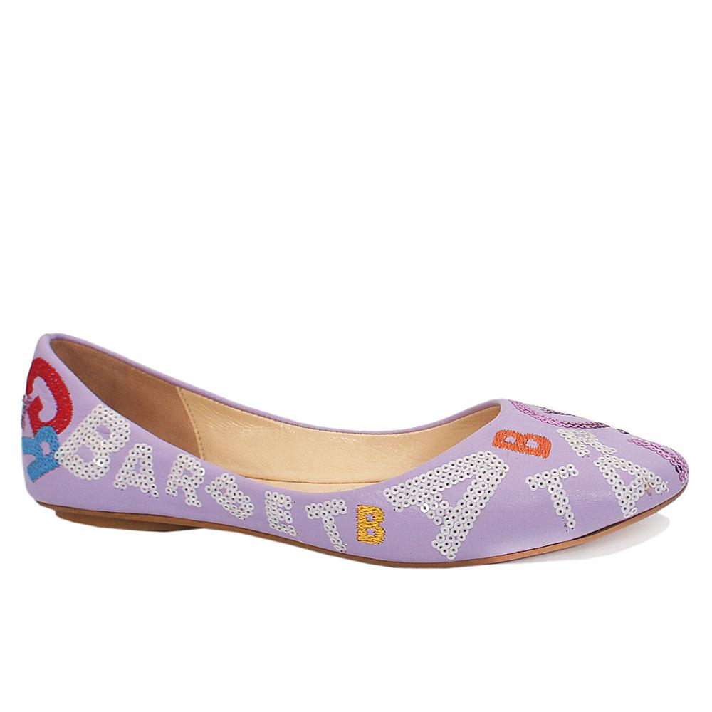 Purple Paisley Embossed Flat Shoes