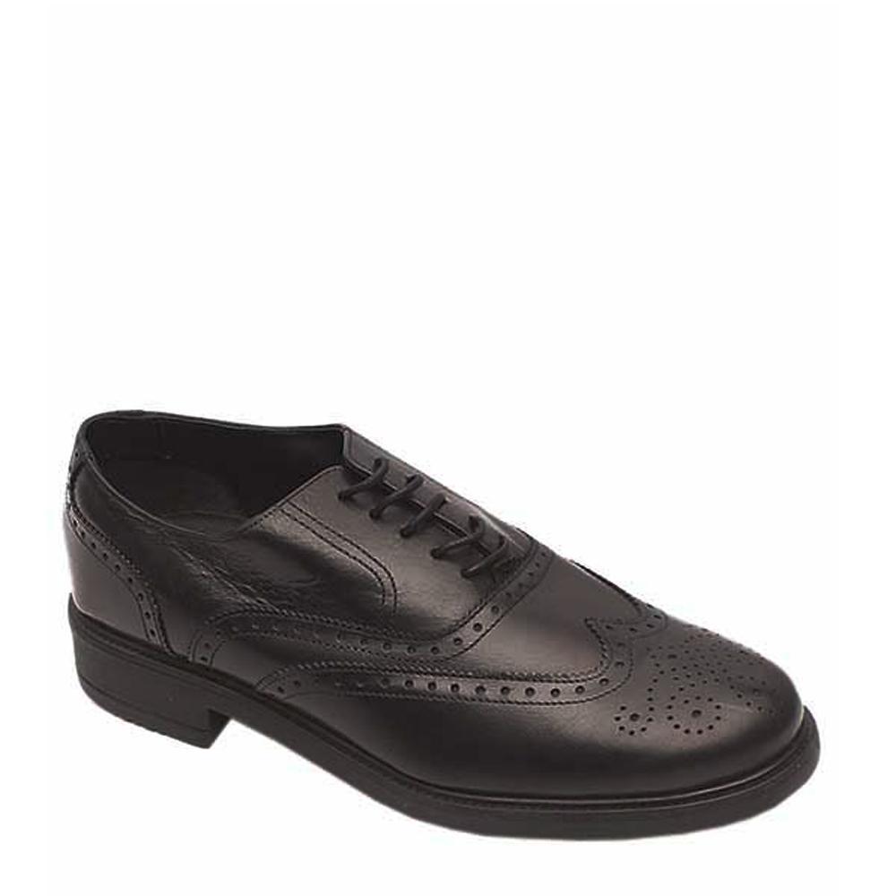 M & S Essential Black Leather Men Lace Up Shoe Sz 43
