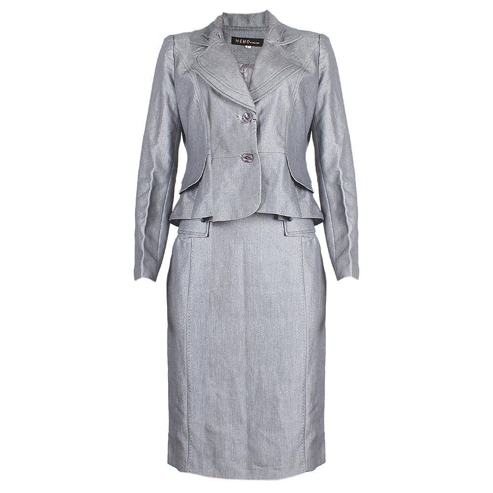 Meho Gray Cotton Ladies Complete Suit Skirt Sz 42