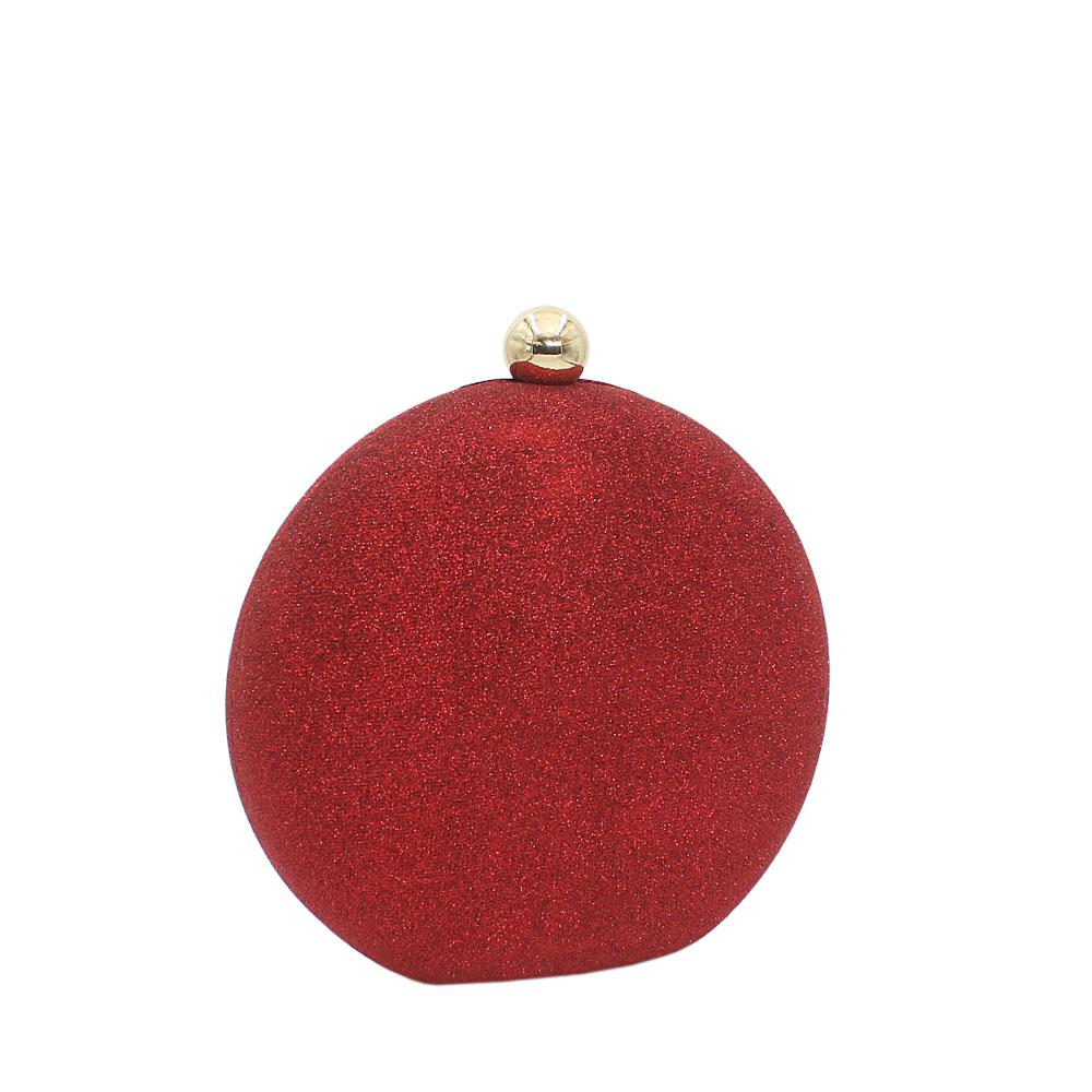 Wine Round Shimmering Satin Clutch Purse