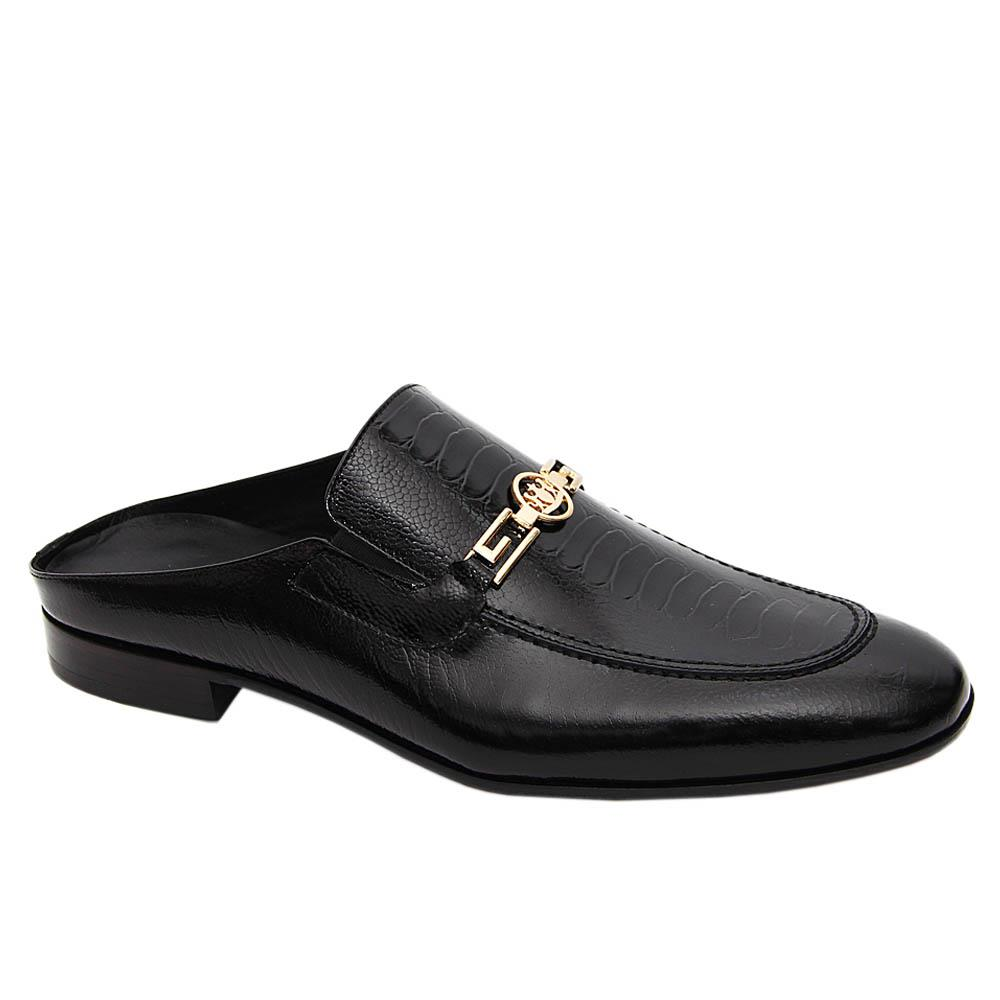Black Gianpiero Italian Leather Half Shoe