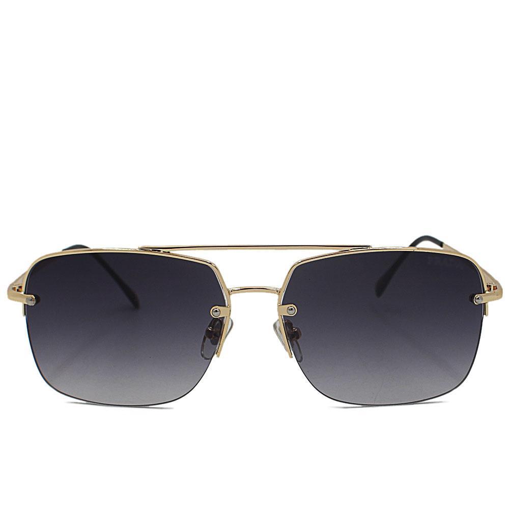 Gold Rectangle Face Aviator Semi Rimless Sunglasses