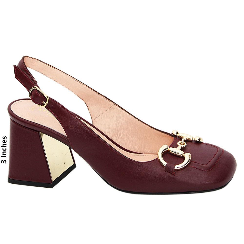 Burgundy Ana Maria Tuscany Leather Mid Heel Slingback Pumps