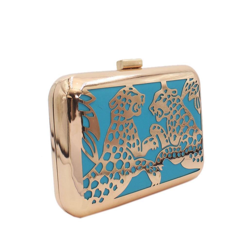 Gold Blue Metal Clutch Purse