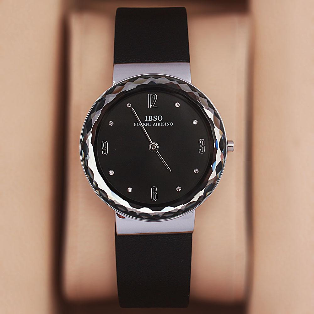 OldSkul Black Leather Ladies Flat Watch
