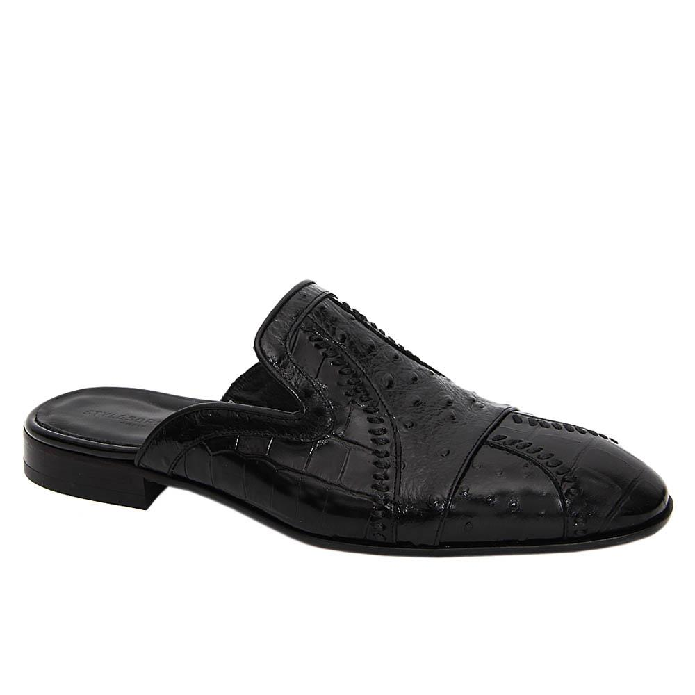 Black Sergio Mix Ostrich Italian Leather Half Shoe