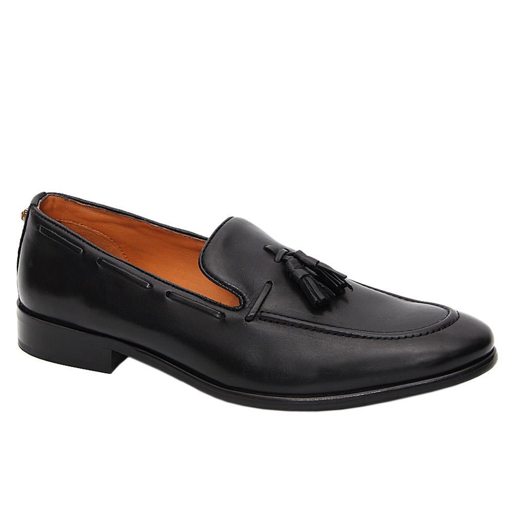 K Geiger Black Maurice Leather Tassel Loafers