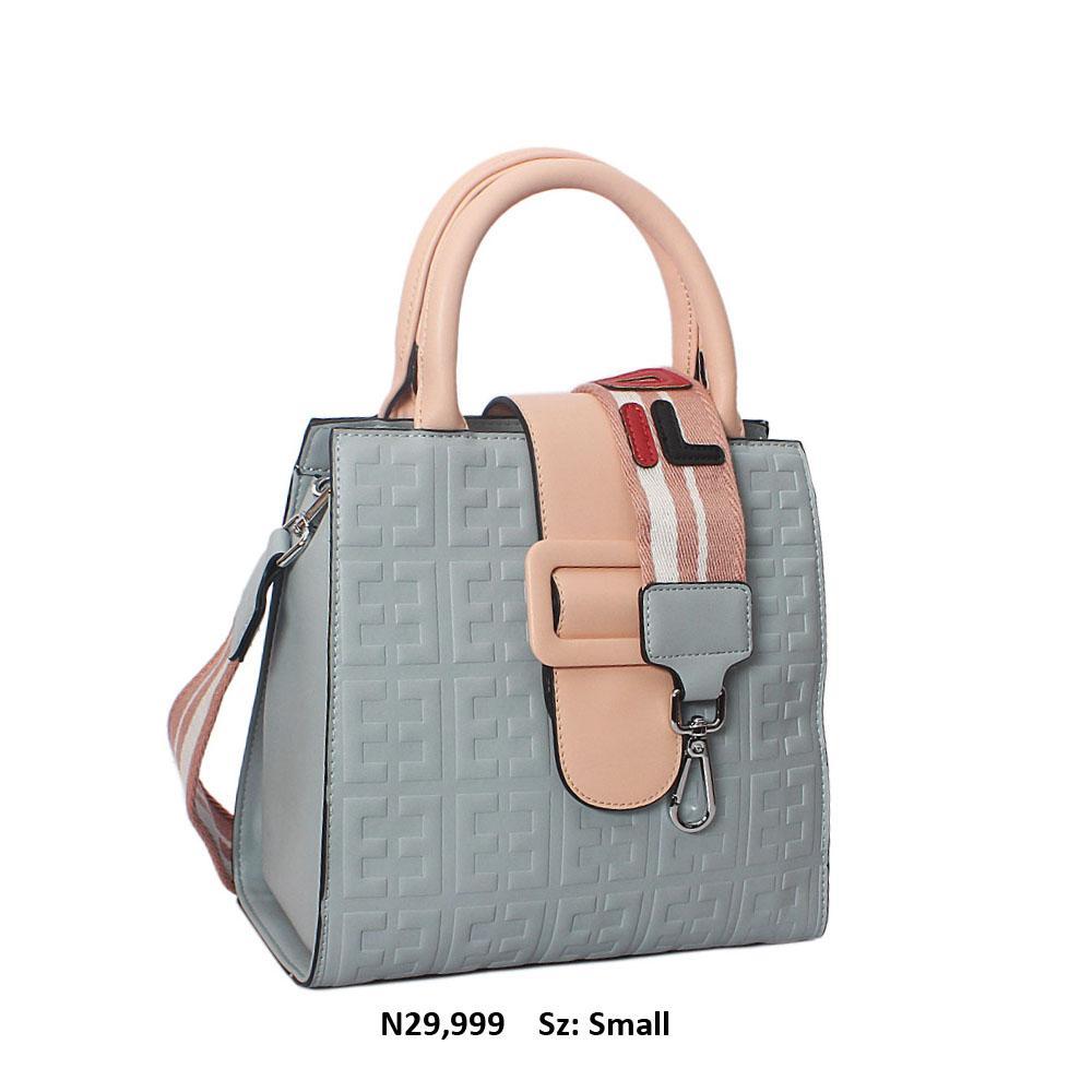 Peach Sky Blue Embossed Leather Small Tote Handbag