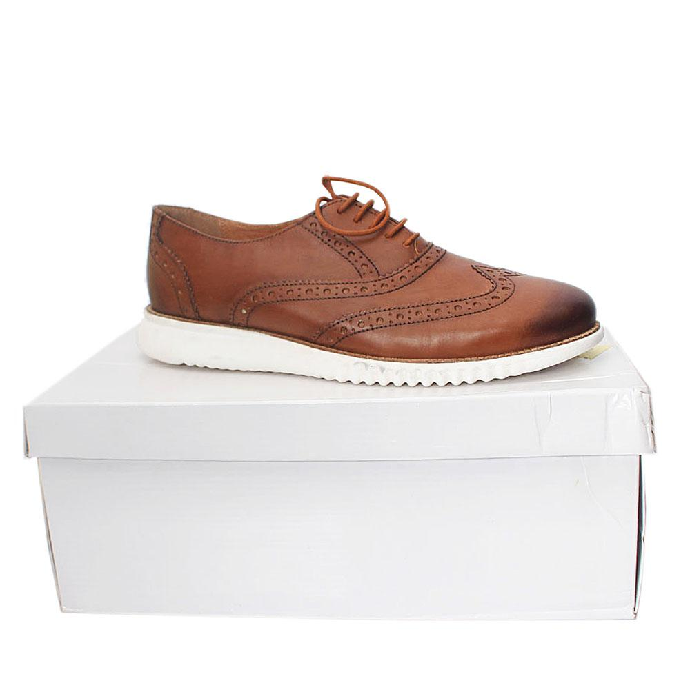 Kurt Geiger Blyth Brown White Leather Comfort Fit Men Shoe Sz 42
