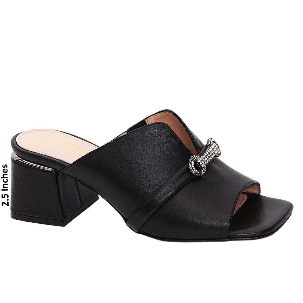 Black Catalina Tuscany Leather Mid Heel Mule