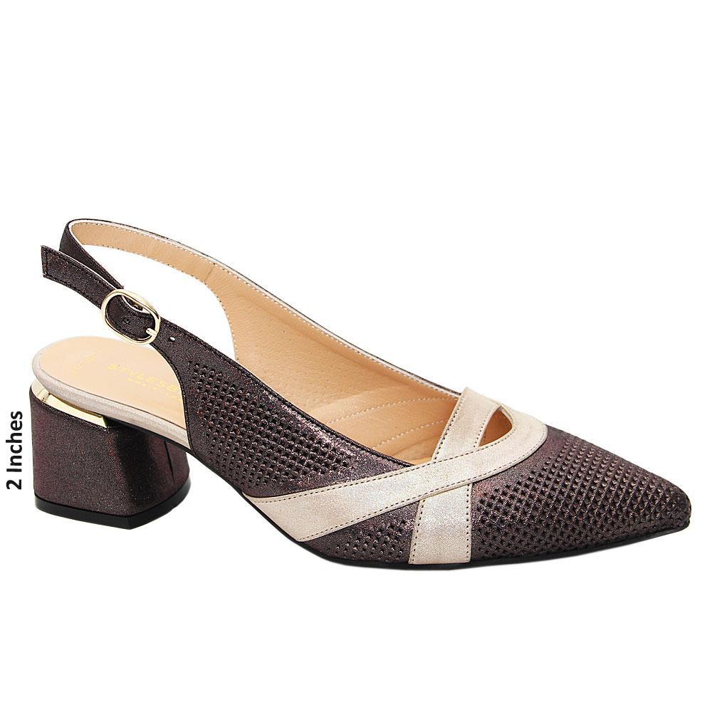 Coffee Nadia Tuscany Leather Mid Heel Slingback Pumps