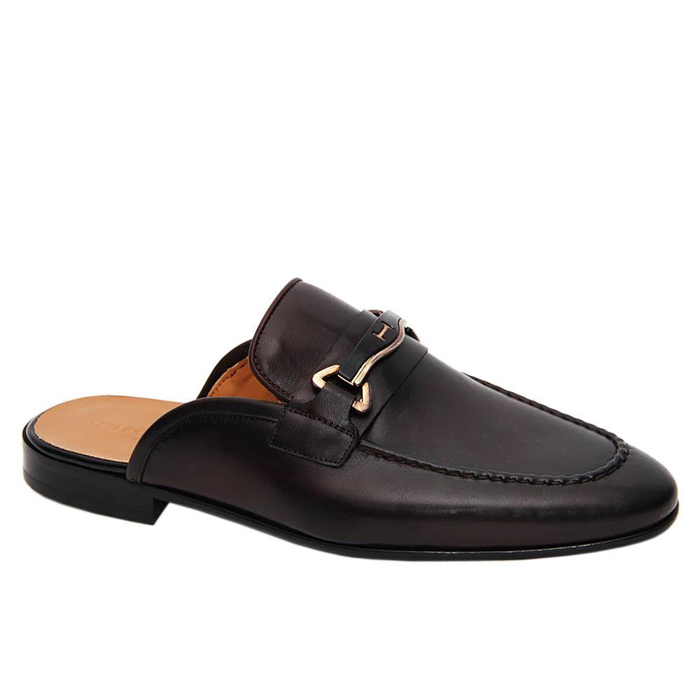 Coffee Fausto Italian Leather Half Shoe